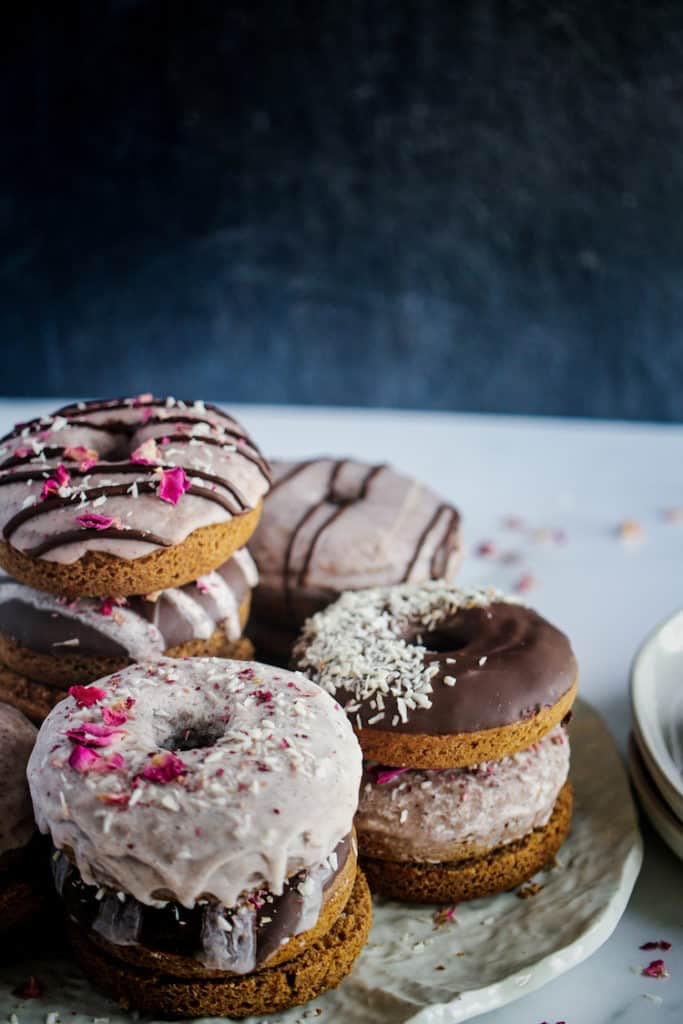 close up of donuts stacked