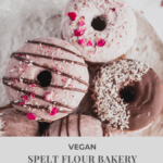 Vegan Baked Donut with Coconut Butter Beet Glaze--Soft and fluffy vegan donuts that are right out of a bakery!