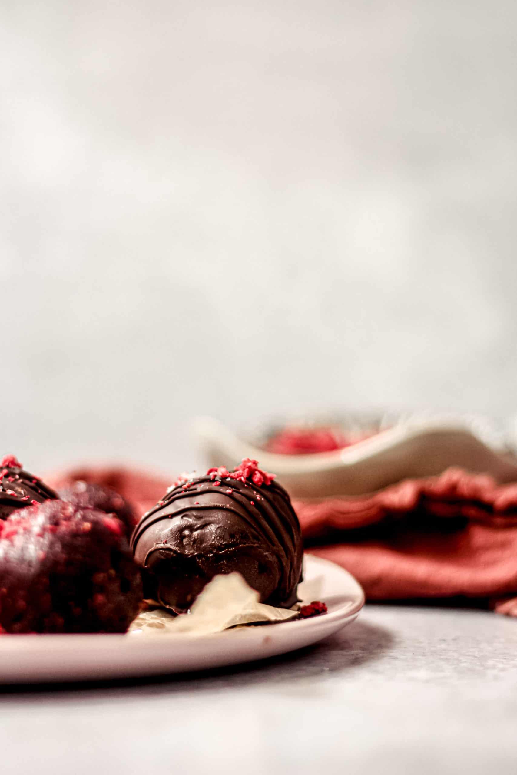 Strawberry Chocolate Cashew Butter Truffles