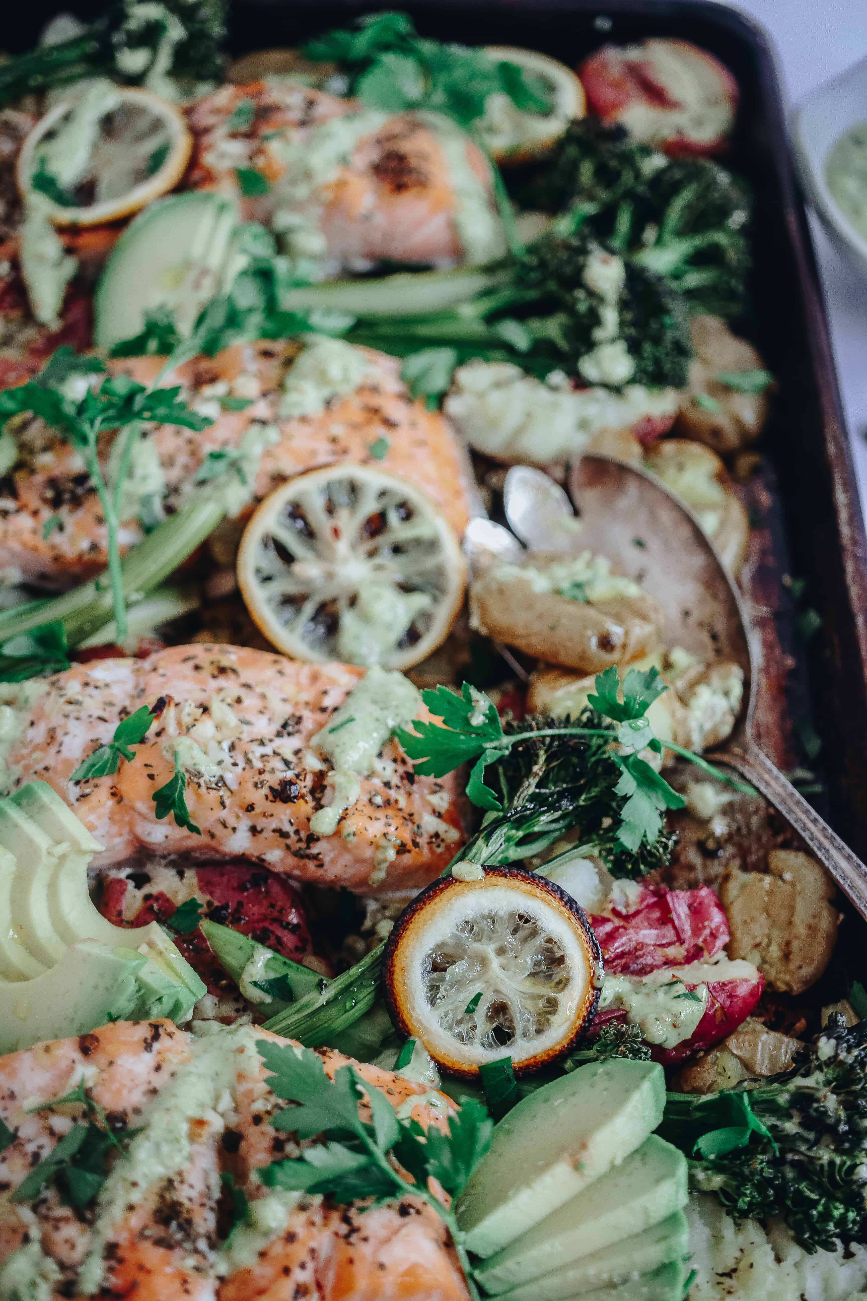 Roasted Lemon Salmon Sheet Pan Dinner with Smashed Potatoes and Broccolini
