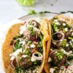 Chimichurri Lamb Meatball Pitas
