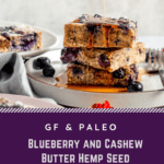 blueberry bars with maple syrup on plate