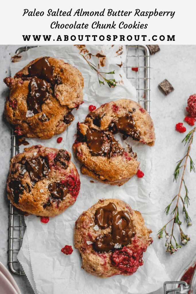 Salted Almond Butter Raspberry Chocolate Chunk Cookies PIN