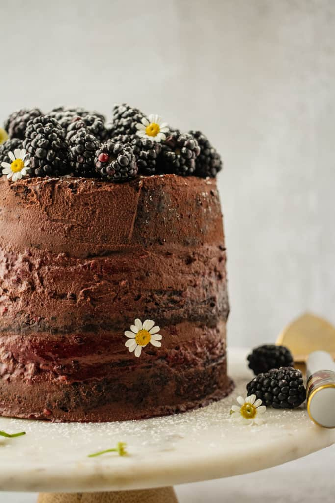 A chocolate blackberry cake topping with blackberries on a cake stand
