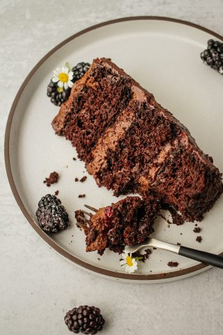 A piece of triple layer chocolate blackberry cake on plate
