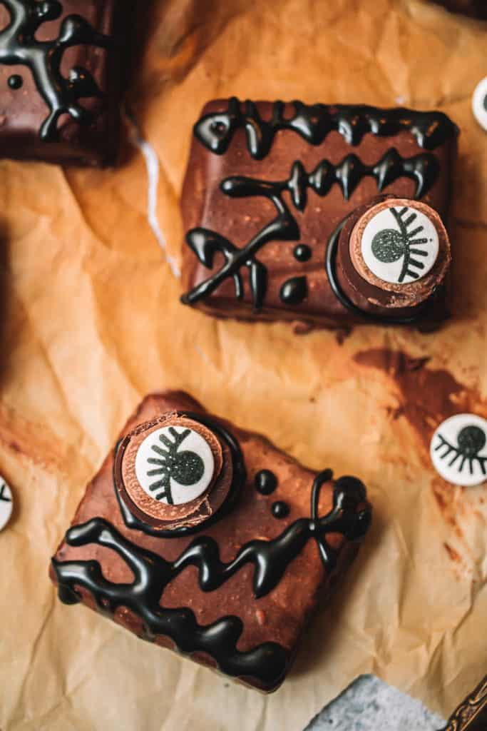 Two decorated brownies with candy eyes