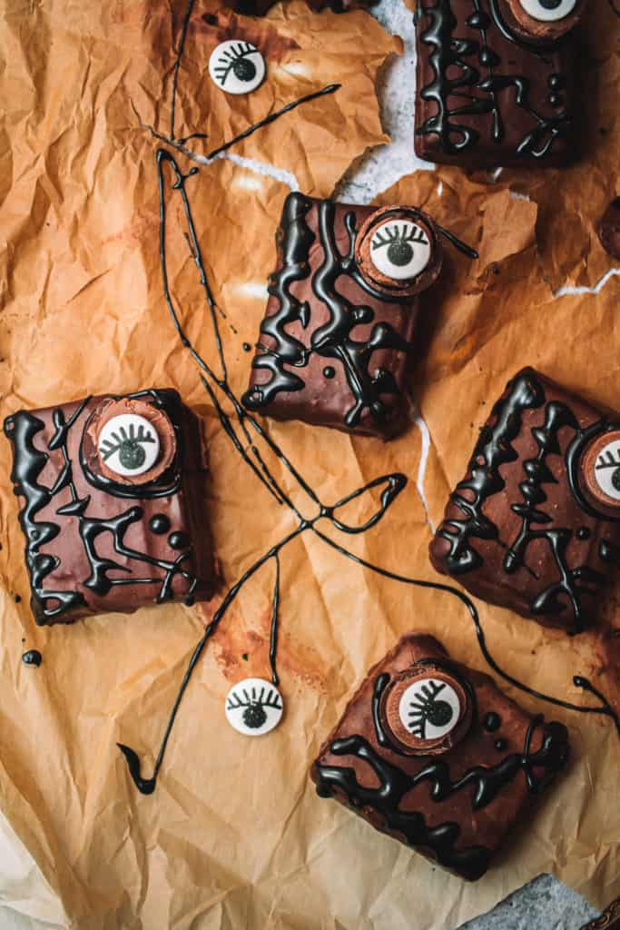 brownies with candy eyes and black icing