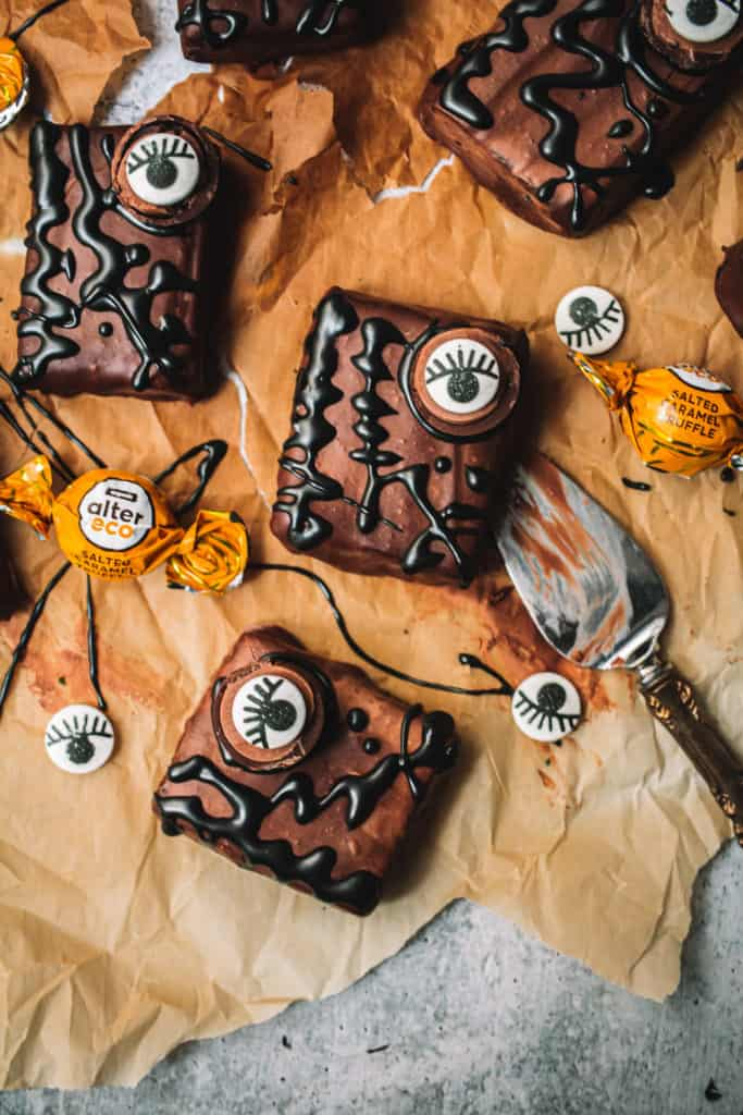 Halloween brownies with candy eyes and melted chocolate