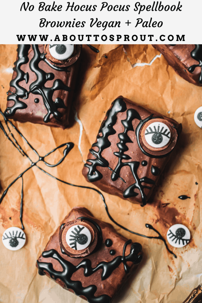 Three decorated brownies with spooky candy eyes and black icing on brown parchment paper