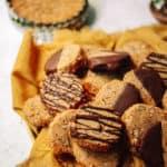 pecan chocolate cookies with yellow napkin