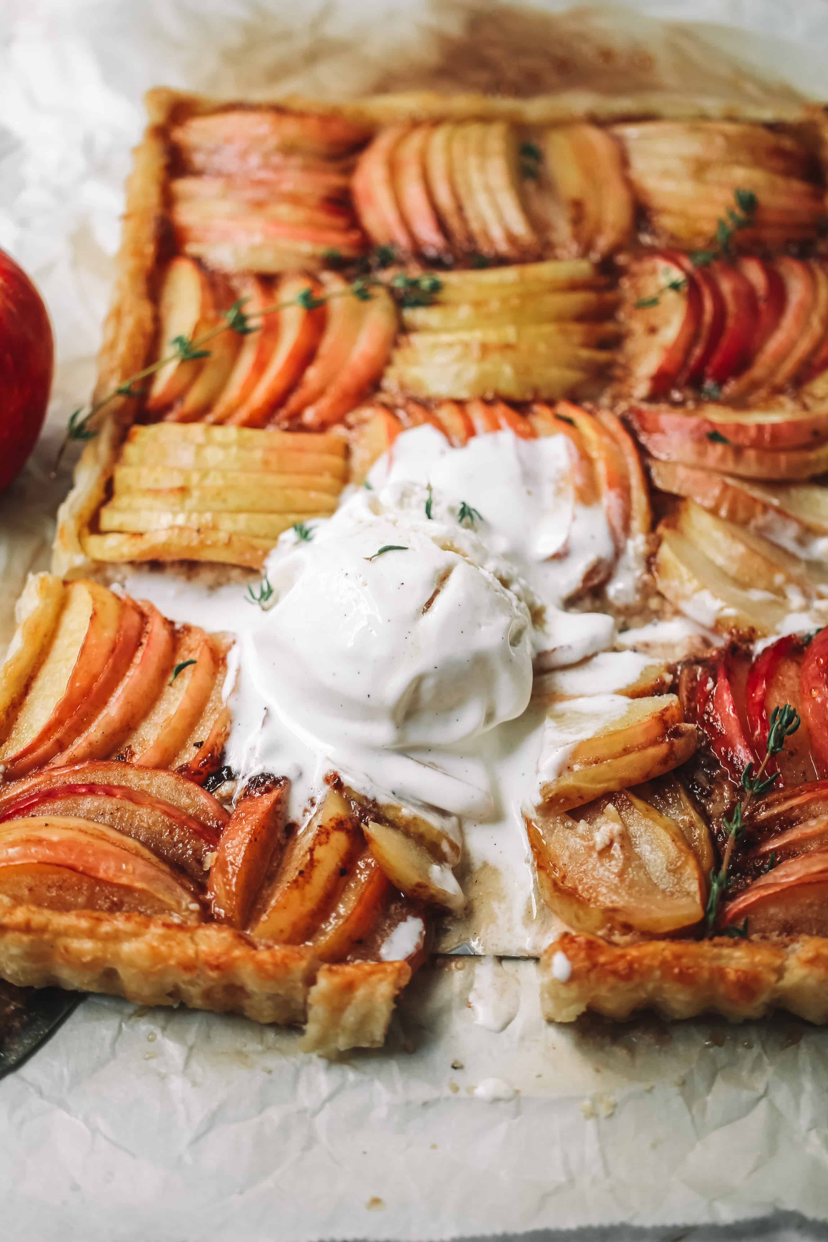 puff pastry apple tart with ice cream
