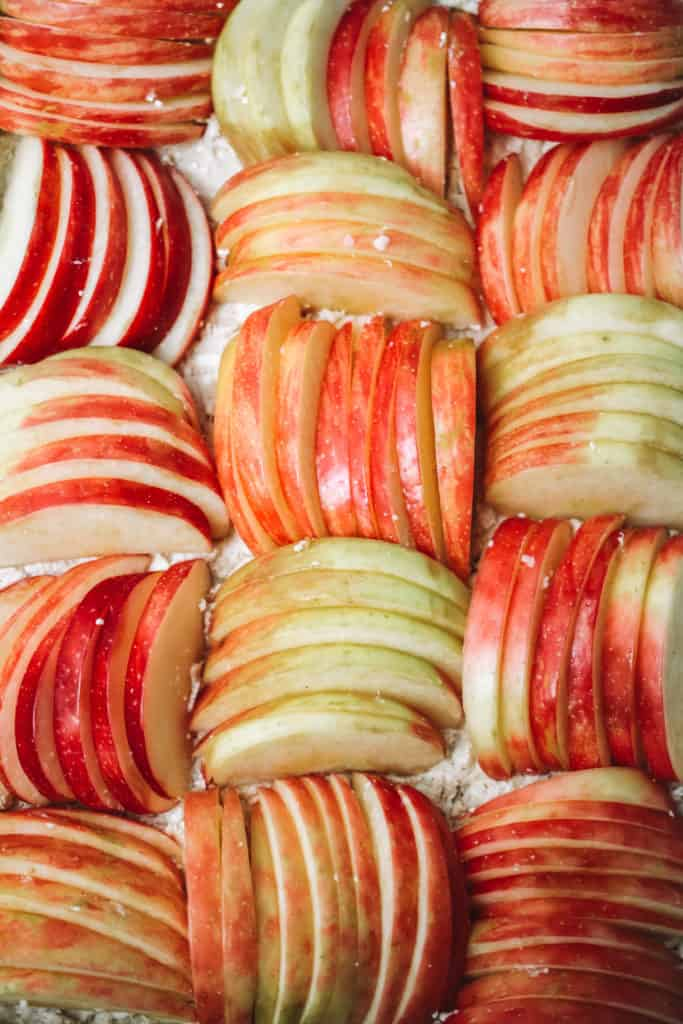 close up of sliced apples with feta