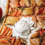 apple tart slice with ice cream