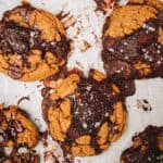 baked cookies with melted chocolate