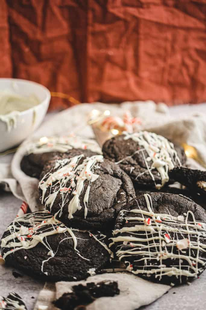 Stuffed black out cookies drizzled with white chocolate