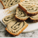 Matcha Babka that is dairy free laden with a semi sweet match cream filling
