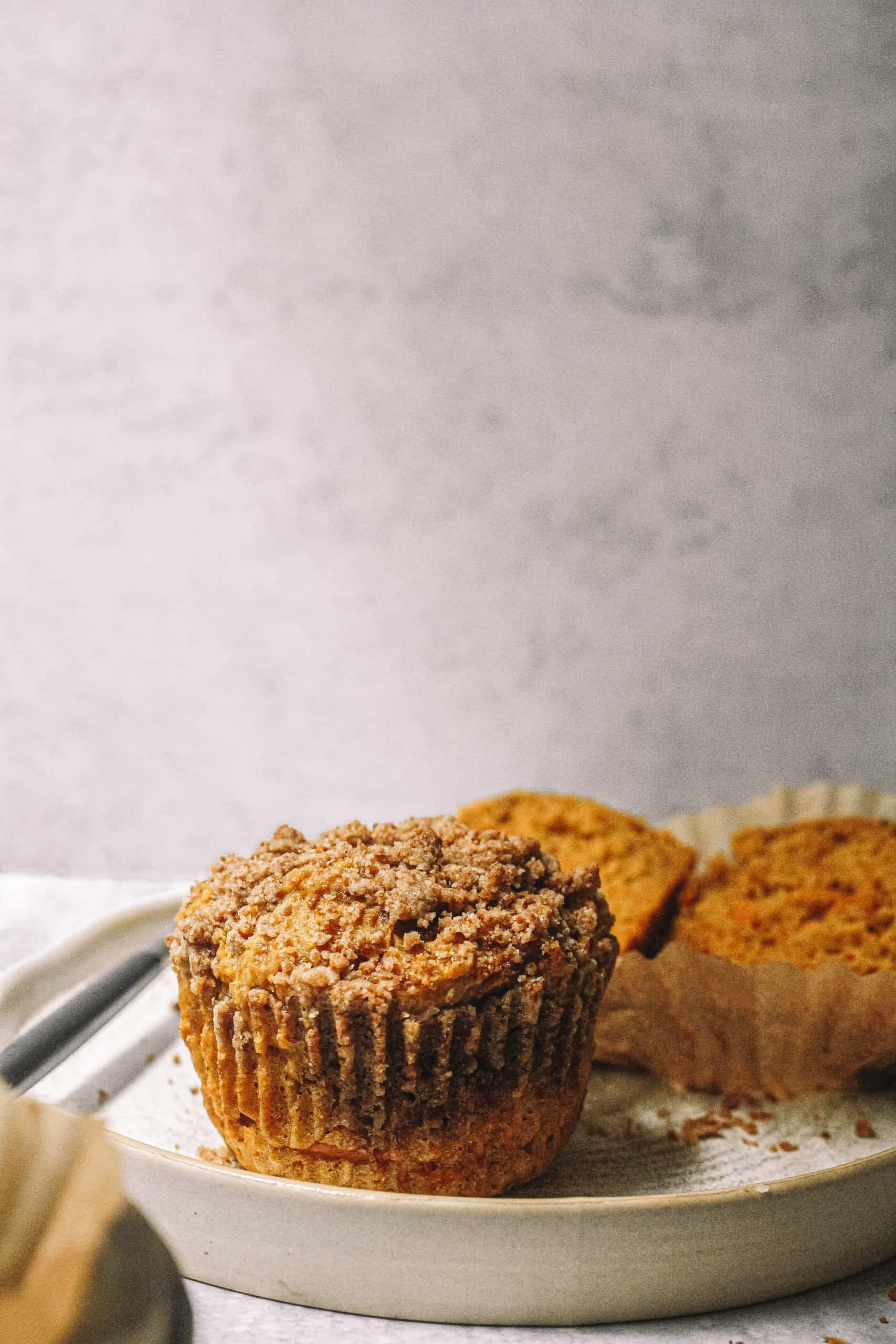 Streusel Topped Pumpkin Carrot Cake Muffins (Small Batch Recipe)