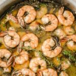 pinterest image of olive oil poached shrimp.
