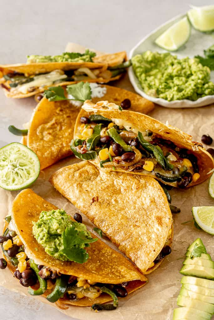 Tray of poblano quesadillas with guacamole.